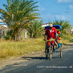 Bicycle rickshaws a common sight in the streets of the seaside town of Toliara, Madagascar
