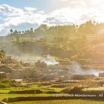 Smoking brick kilns at the outskirts of Antsirabe, Madagascar